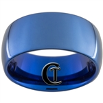 10mm Blue Dome Tungsten Carbide Ring