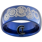 10mm Blue Dome Tungsten Carbide Doctor Who Design