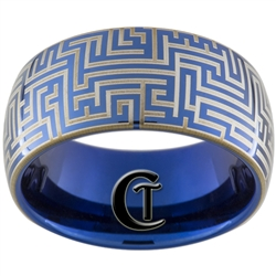 10mm Blue Dome Tungsten Carbide Maze Design