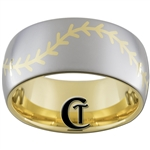 10mm Gold Dome Tungsten Carbide Baseball Stitch Design