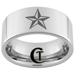 10mm Pipe Tungsten Carbide Texas Star Design Ring.