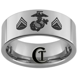 10mm Pipe Tungsten Carbide Marines Corporal Design Ring.