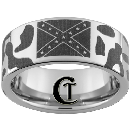 Pipe Tungsten Carbide Polished Confederate Flag Camo Designed Ring