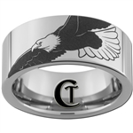 10mm Pipe Tungsten Carbide Military American Bald Eagle Design Ring.