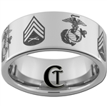 10mm Pipe Tungsten Carbide Multiple Marines Symbol & Sergeant Rank Design.