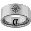 10mm Pipe Satin Finish Tungsten Carbide Nautical Compass Design Ring.