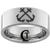 10mm Pipe Satin Finish Tungsten Carbide NAVY Anchor Design Ring.