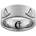 10mm Pipe Tungsten Carbide Satin Masonic Design