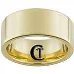 10mm Gold Pipe Tungsten Carbide Ring