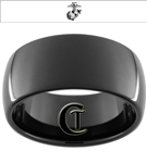 11mm Black Dome Tungsten Carbide Marines Eagle Globe and Anchor Design.