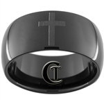 11mm Black Dome Tungsten Carbide Black Lasered Cross Design