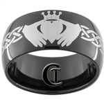 11mm Black Dome Tungsten Carbide Claddagh Celtic Ring Design