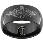 11mm Black Dome Tungsten NAVY Submarine Dolphins Designed Ring.