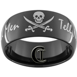 11mm Black Dome Tungsten Carbide White Lasered Skull Pirate Dead Men Tell No Tales Design