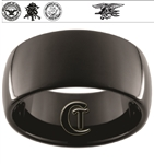 11mm Black Dome Tungsten Carbide Navy Crest, Seals and Eagle Trident Design.