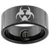 11mm Black Pipe Tungsten Carbide Biohazard Radioactive Design