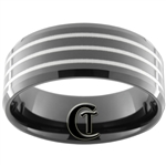 12mm Black Beveled Tungsten Carbide Laser Line Design
