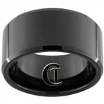 12mm Black Beveled Tungsten Carbide Polished Ring