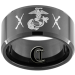 12mm Black Beveled Tungsten Carbide Marines Military Crossed Rifles Ring Design.