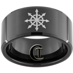 12mm Black Beveled Tungsten Carbide Undead Compass Design