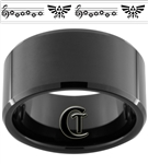 12mm Black Beveled Tungsten Carbide Zelda Design