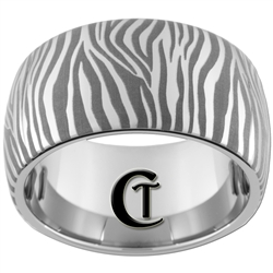 12mm Dome Tungsten Carbide Band Zebra Design