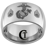 12mm Dome Tungsten Carbide MARINES Symbol & Staff Sergeant Design.