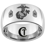 12mm Dome Tungsten Carbide Marines & Master Sergeant Rank Design.
