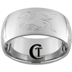 12mm Dome Tungsten Carbide Band Dragons Design