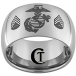 12mm Dome Tungsten Carbide MARINES Sergeant Rank Design.