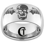 12mm Dome Tungsten Carbide Skull with Bat Wings Design Ring.