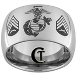 12mm Dome Tungsten Carbide Marines Sergeant Rank Design