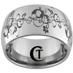 12mm Dome Tungsten Carbide Band Floral Design