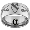 12mm Dome Tungsten Carbide Army 1st Cavalry and Crossed Sabers Design Ring.