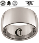12mm Dome Tungsten Carbide Navy Crest, Seals and Eagle Trident Design.