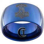12mm Blue Dome Tungsten Carbide Thor's Hammer Design Ring.