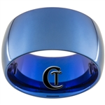 12mm Blue Dome Tungsten Carbide Ring