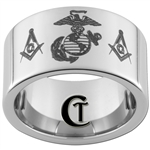 12mm Pipe Tungsten Carbide Marines Masonic Design Ring.