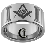 12mm Pipe Tungsten Carbide Masonic  All Seeing Eye Design