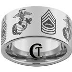 12mm Pipe Tungsten Carbide Multiple Marines Symbol & Master Sergeant Rank Design.