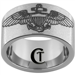 12mm Pipe Tungsten Carbide Military Naval Aviator Don't Tread On Me Design Ring.