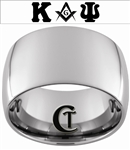 14mm Dome Tungsten Carbide Custom Masonic Design