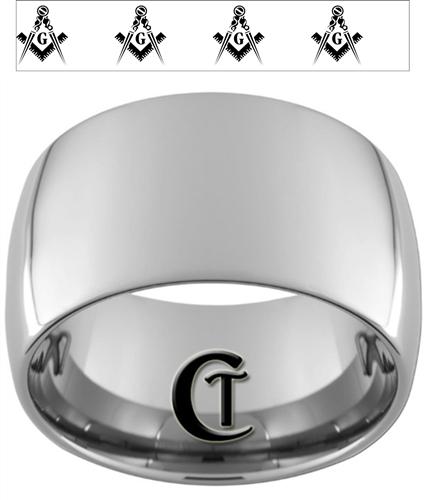 14mm Dome Tungsten Carbide Multiple Masonic Square and Compasses Design