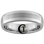 6mm Dome Tungsten Carbide Satin Center Ring