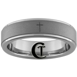 6mm Pipe One-Step Matte Finish Tungsten Carbide Cross Design Ring