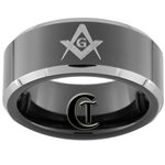 8mm Black Beveled Two-Toned Tungsten Carbide Masonic Design