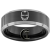8mm Black Beveled Two-Toned Polished Tungsten Iron Man Designed Ring