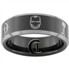 8mm Black Beveled Two-Toned Tungsten Carbide Avengers Assembled Design