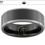 8mm Black Beveled Two-Toned Tungsten Carbide Heart Crown Design