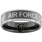 8mm Black Beveled Two-Toned Tungsten Carbide Air Force Dad Design.
